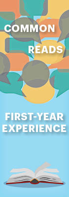 Common Reads: First-Year Experience [picture of open book]