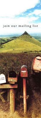 Join Our Mailing List [picture of mailboxes in a rustic setting]