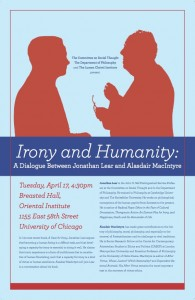 'Irony and Humanity' event poster courtesy the Lumen Christi Institute