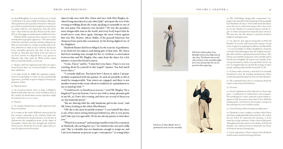 Sample interior spread from Pride and Prejudice