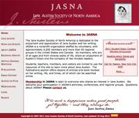 Screenshot: The Jane Austen Society of North America website