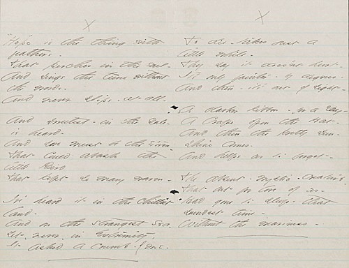 "Manuscript page showing six stanzas in Emily Dickinson's handwriting, starting with: ""Hope"" is the thing with feathers / To die — takes just a little while"