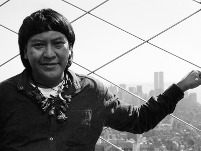 Davi Kopenawa on top of the Empire State building in New York. (Photo F. Watson-Survival International, 1991.)