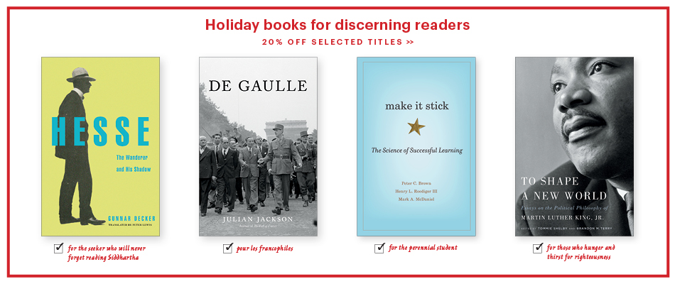 Text: 'Holiday books for discerning readers: 20% off selected titles' followed by four example books: Hesse ('for the seeker who will never forget reading Siddhartha'; De Gaulle ('pour les francophiles'); Make It Stick ('for the perennial student'); and To Shape a New World ('for those who hunger and thirst for righteousness')