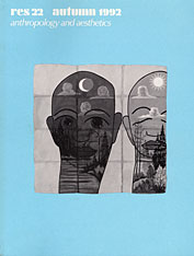 Cover: Res: Anthropology and Aesthetics, 22: Autumn 1992