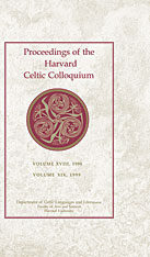 Cover: Proceedings of the Harvard Celtic Colloquium, 18/19: 1998 and 1999 in HARDCOVER