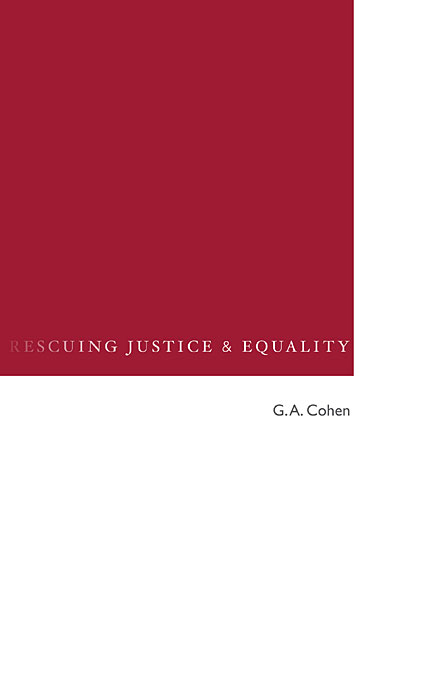 Cover: Rescuing Justice and Equality, from Harvard University Press