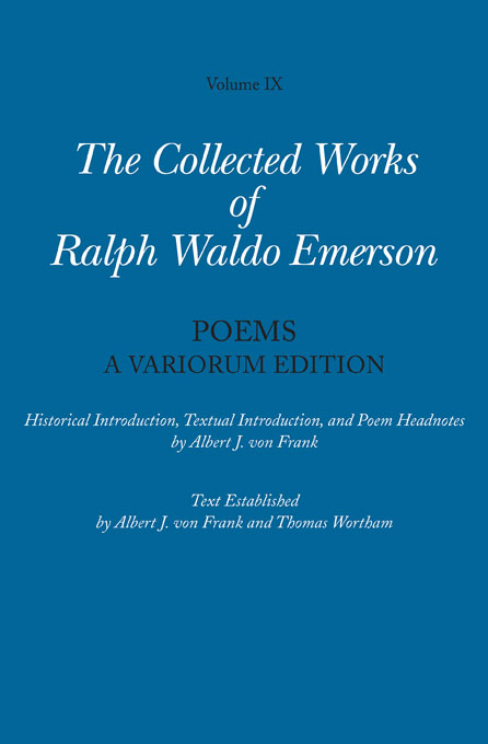 Cover: Collected Works of Ralph Waldo Emerson, Volume IX: Poems: A Variorum Edition, from Harvard University Press