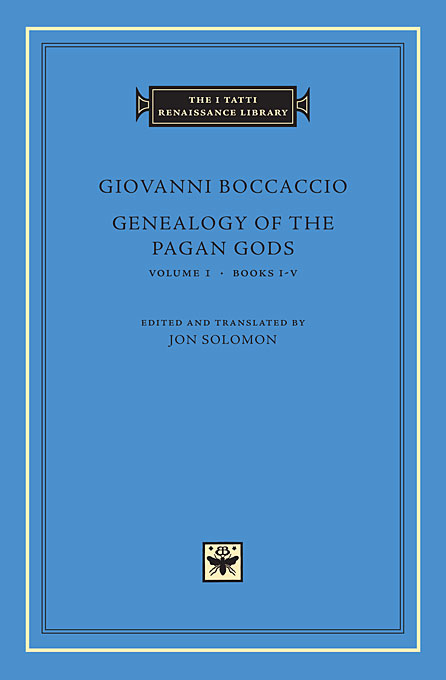 Cover: Genealogy of the Pagan Gods, Volume 1: Books I–V, from Harvard University Press
