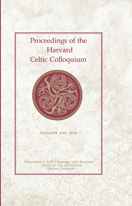 Cover: Proceedings of the Harvard Celtic Colloquium, 30: 2010, from Harvard University Press