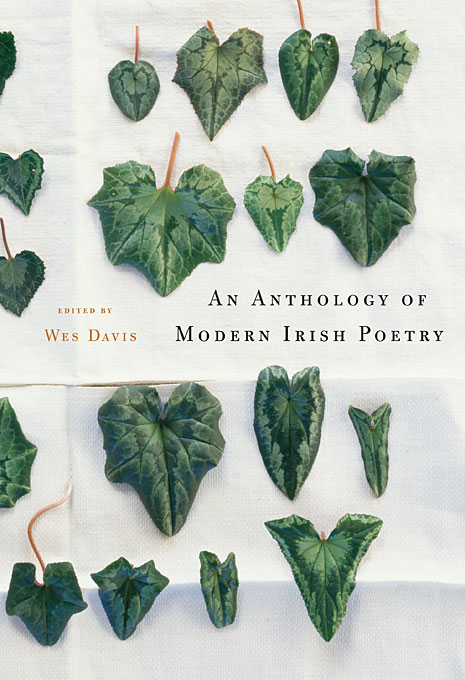 Cover: An Anthology of Modern Irish Poetry, edited by Wes Davis, from Harvard University Press