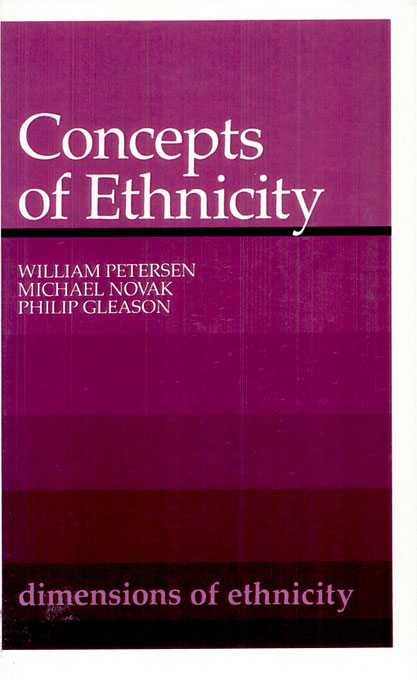 Cover: Concepts of Ethnicity, from Harvard University Press