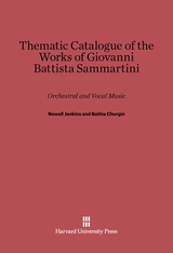 Cover: Thematic Catalogue of the Works of Giovanni Battista Sammartini: Orchestral and Vocal Music