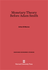 Cover: Monetary Theory Before Adam Smith