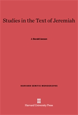 Cover: Studies in the Text of Jeremiah