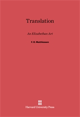Cover: Translation: An Elizabethan Art