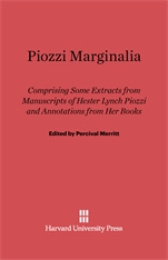 Cover: Piozzi Marginalia: Comprising Some Extracts from Manuscripts of Hester Lynch Piozzi and Annotations from Her Books