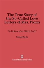 Cover: The True Story of the So-Called Love Letters of Mrs. Piozzi in E-DITION