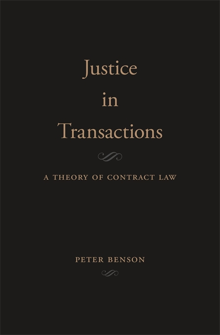 Cover: Justice in Transactions: A Theory of Contract Law, from Harvard University Press