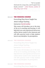 Cover: The Missing Course: Everything They Never Taught You about College Teaching