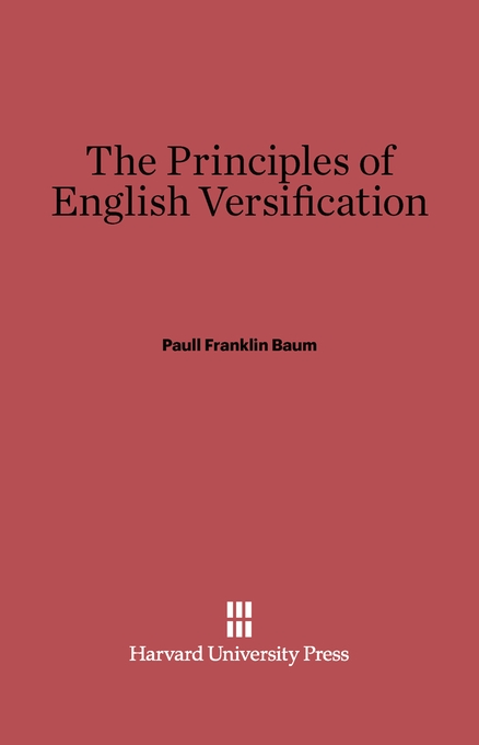 Cover: The Principles of English Versification, from Harvard University Press