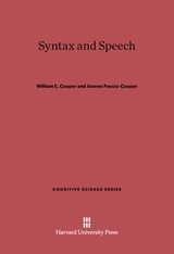 Cover: Syntax and Speech