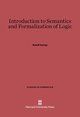 Cover: Introduction to Semantics and Formalization of Logic