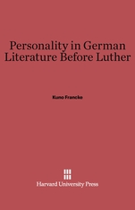 Cover: Personality in German Literature before Luther