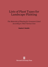 Cover: Lists of Plant Types for Landscape Planting