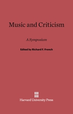 Cover: Music and Criticism: A Symposium