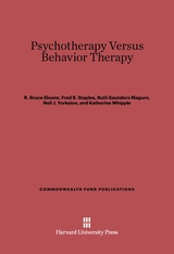 Cover: Psychotherapy vs. Behavior Therapy