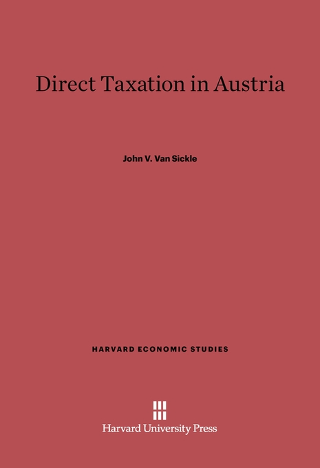 Cover: Direct Taxation in Austria, from Harvard University Press