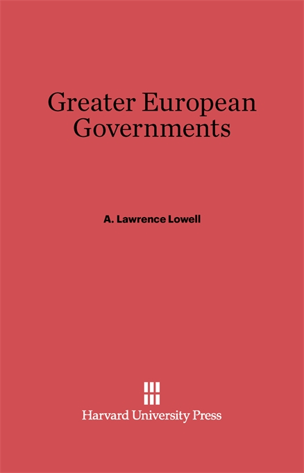 Cover: Greater European Governments: Revised Edition, from Harvard University Press