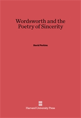Cover: Wordsworth and the Poetry of Sincerity in E-DITION