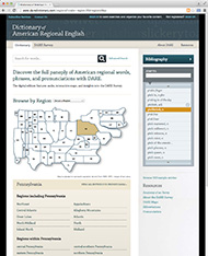 Screenshot: Dictionary of American Regional English, Digital Edition, from Harvard University Press