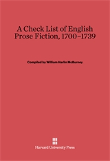 Cover: A Check List of English Prose Fiction, 1700–1739