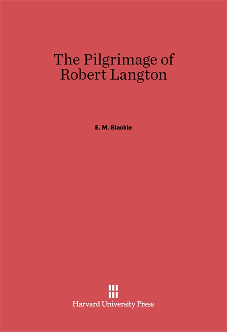 Cover: The Pilgrimage of Robert Langton, from Harvard University Press
