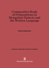 Cover: Comparative Study of Postpositions in Mongolian Dialects and the Written Language