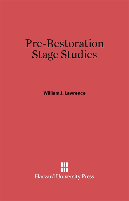 Cover: Pre-Restoration Stage Studies, from Harvard University Press