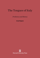Cover: The Tongues of Italy: Prehistory and History