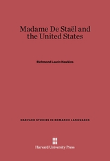 Cover: Madame De Staël and the United States
