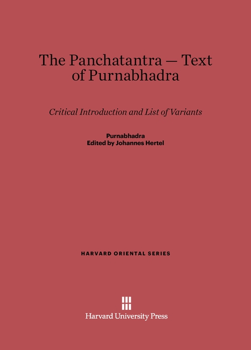Cover: The Panchatantra-Text of Purnabhadra: Critical Introduction and List of Variants, from Harvard University Press