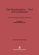 Cover: The Panchatantra-Text of Purnabhadra: Critical Introduction and List of Variants