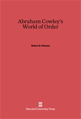 Cover: Abraham Cowley's World of Order in E-DITION