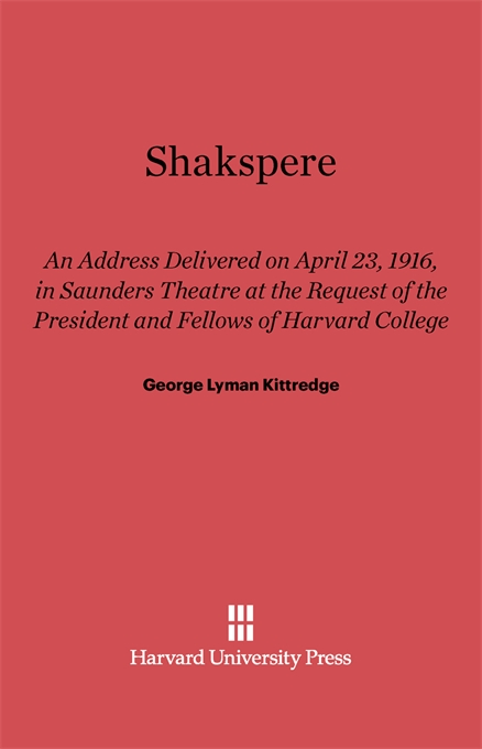 Cover: Shakespere: An Address, from Harvard University Press