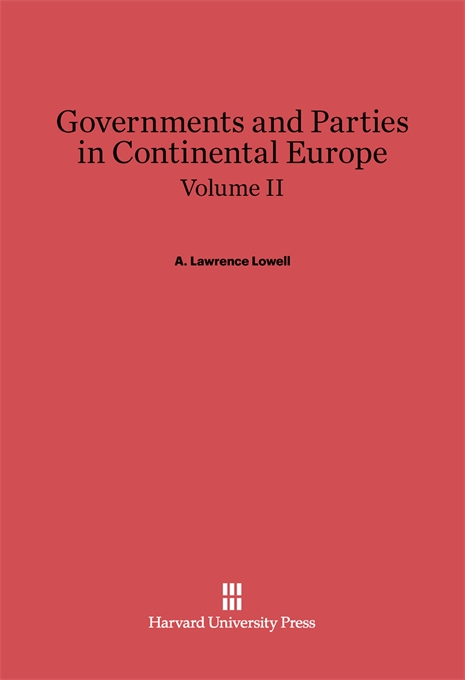 Cover: Governments and Parties in Continental Europe, Volume II, from Harvard University Press