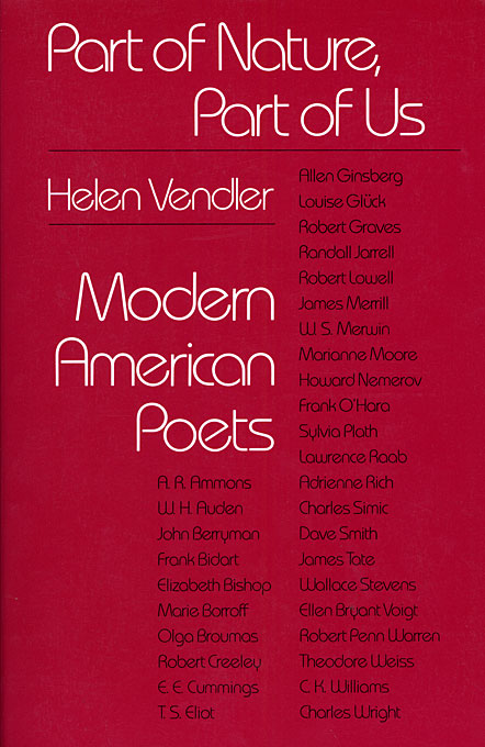 Cover: Part of Nature, Part of Us: Modern American Poets, from Harvard University Press