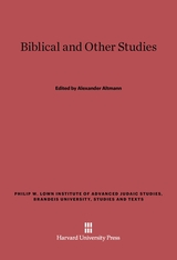 Cover: Biblical and Other Studies