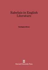 Cover: Rabelais in English Literature
