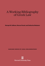Cover: A Working Bibliography of Greek Law